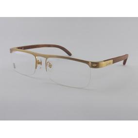 Armação Oculos Grau Cartier Madeira S  Aro Preta Peças Prata ... 029a93269d