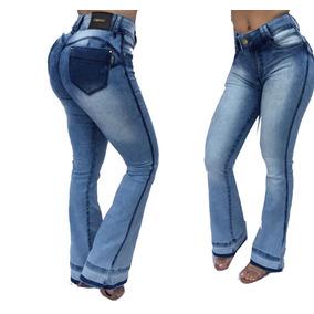 Calça Feminina Jeans Flare Estilo Pit Bull Empina Bumbum