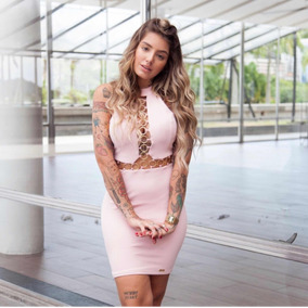Vestidos Femininos Limone Rosa Neoprene Com Argolas Curto