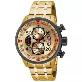 Relógio Invicta Aviator 17205 -masculino-banhado A Ouro 18k