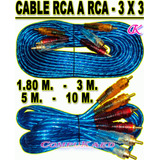 Cable Rca A Rca 3 X 3 Amarillo - Rojo Y Blanco Audio Y Video
