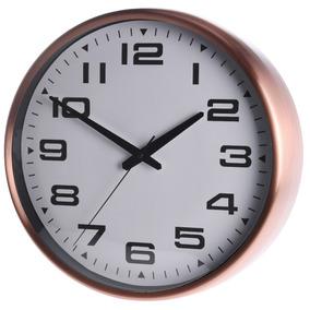 Reloj De Pared Blanco Con Marco Cobre Atma Home