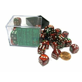 Bloque 36 Dados D6 Chessex Gemini Green / Red / White - Ches