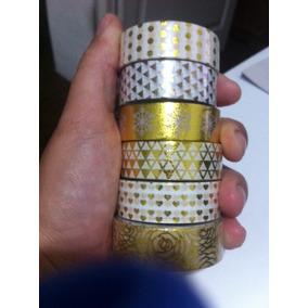 Kit 10 Washi Tape Dourada-metalizada Golden Foil