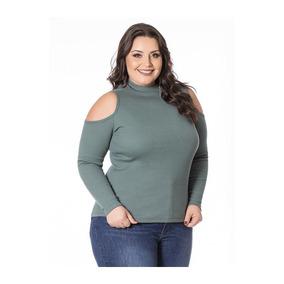 Blusa Plus Size Ombros Vazados Verde Miss Masy Plus e1e827abc145a