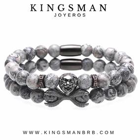 Set Pulseras Hombre Moda 2019 León Kingsman Grey Jasper Lujo