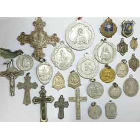 Lote De Medalhas Sacras Antigas