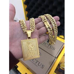 Cordão Elos Duplos 13mm + Pingente Fé Banhados A Ouro 18k