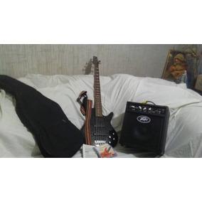 Bajo 5 Cuerdas Marca Ibanez + Amplificador Y Forro