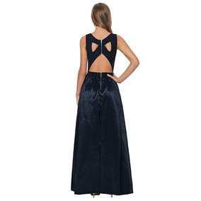 Vestido Negro Sin Espalda Fiesta Satinado Largo Moderno Boda