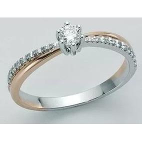 Aro 20 Aliança Solitário Diamantes Ouro Branco E Rosê18k!