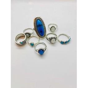 Set De 8 Anillos En Color Azul