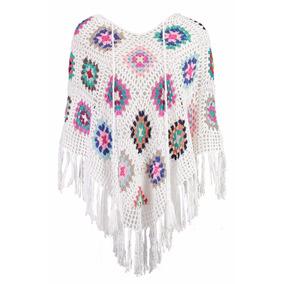 Poncho Tricot Tricô Crochê Casaco Colorido 100% Feito A Mão