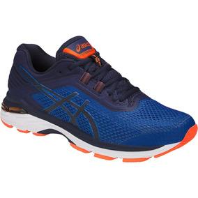 Tenis Asics Gt 2000 6 Azul Naranja Correr Running Pronador