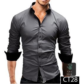 Camisa Social Slim Fit 100% Algodão Mod Ct28