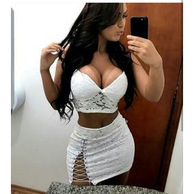 Conjunto Cropped E Saia De Renda Branco Sexy Menina