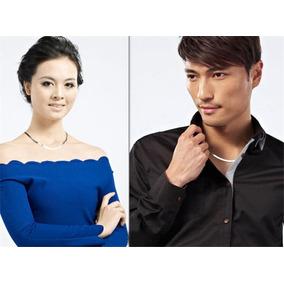 Collar Unisex Plateado Elegante Caballero Y Dama 45 Cm Largo
