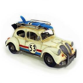 Fusca Surf 53 Herbie Vintage Metal Artesanal Decoração Retro