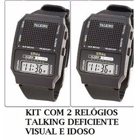 Kit 2 Relógios Fala A Hora Para Deficiente Visual E Idoso