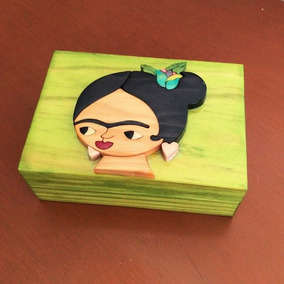 Caja Alhajero Artesanal Frida En Color Verde Pistache