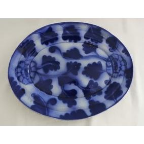 Travessa De Porcelana Esmaltada Com Decoração Azul Borrão.