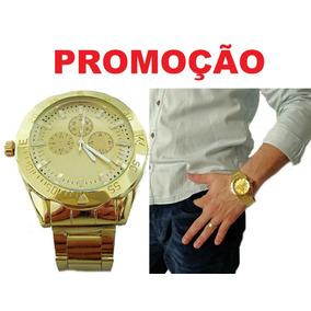 Relógio Grande Pulseira Aço Inoxidável Masculino Dourado