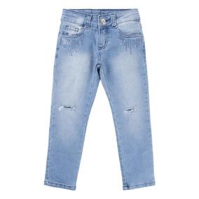 Calça Jeans Used Com Paetê E Puídos Menina 915725