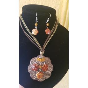 Collar Y Aretes Artesanal Cascara Coco Artesania Mexicana