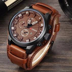 Relógio Sportivo Curren 8225 Marrom Couro Top Luxo C/ Caixa