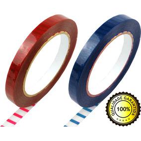 100 Fitas Adesiva Zebrada Lacra Sacolas Rolo 80m X 12mm