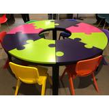 Mesa Puzzel 6 Sillas Niños Salón De Fiestas Y Restaurantes