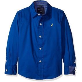 Camisa Nautica Vestir Azul Pique Nueva Original 100% Algodon