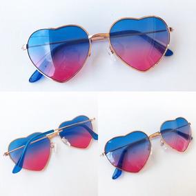 5dbc4f8f02993 Óculos De Sol Formato De Coração Óculos De Coração Azul Clar ...