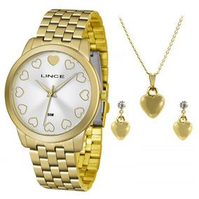 Kit Relógio Lince Feminino Lrgh093l Mais Colar E Brincos