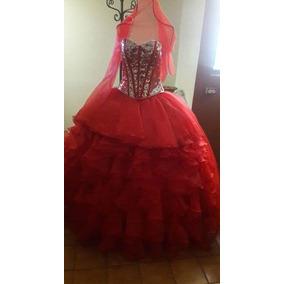 Vestido Xv ,rojo/plata,desmontable..
