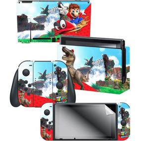 Skin 3 Adesivos +proteção Tela Nintendo Switch Mario Odyssey