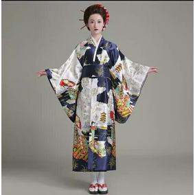 Kimono De Geisha Japones Para Dama , Envio Gratis.negro Azul