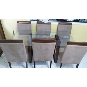 Mesa 1,60 X0,90 Com Vidro Temperado De 5 Ml Com 6 Cadeiras