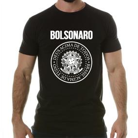 Camiseta Jair Bolsonaro Estilo Ramones Brasil Brasão Preta