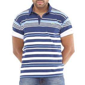Camisa Polo Azul Marinho Manga Curta Listrada Com Branco - Calçados ... 35b980090c1