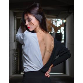 Body Pantiblusa Mujer Negro Blanco Escote Manga Larga