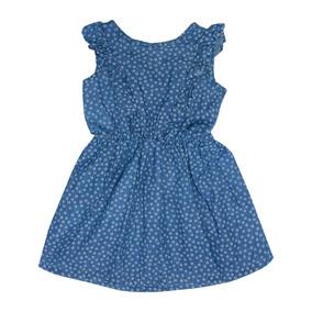 Vestido Bebe Niña Tipo Mezclilla Azul Casual