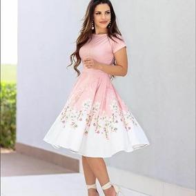 Vestido Midi Godê Estampas - Açaí Charme Flor Evangélica