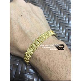 Pulseira Nova Bracelete Rolex Dourada Folheada Ouro