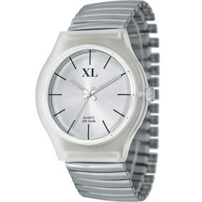 Reloj Extra Large Moda Metal Elastizado Dama Xl 664 Plateado