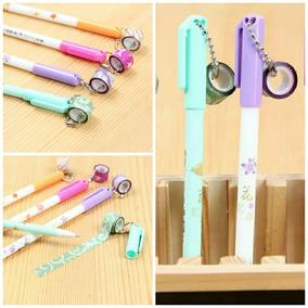 Kit 4 Caneta Escolar Gel +4 Fita Washi Tape Glitter Promoção