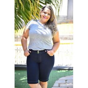 Bermuda Jeans Feminina Plus Size Com Lycra