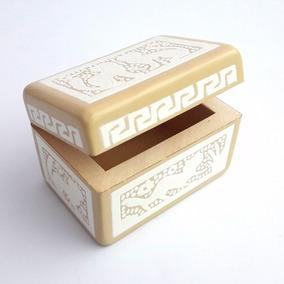 Caja Beige Con Blanco Y Diseño De Gato Artesanía Mexicana