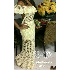 Vestido largo tejido a crochet