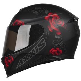 Capacete Feminino Axxis Mt Eagle Flowers Preto F Vermelho
